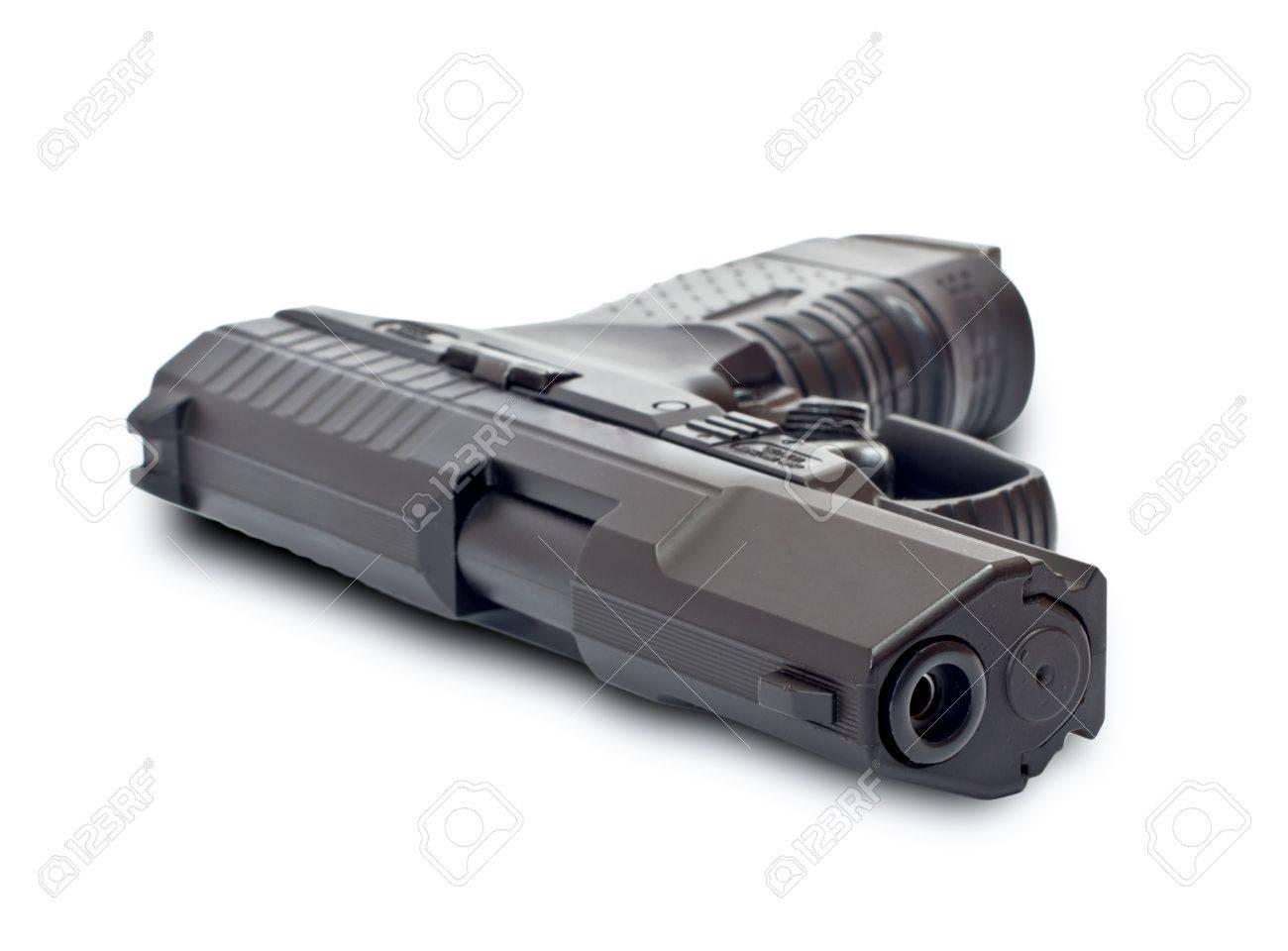 Black gun lying on a white background Stock Photo - 11143628