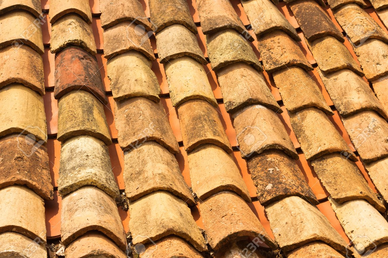 The Texture Closeup Of The Red Old Clay Roof Tiles Stock Photo   15051919