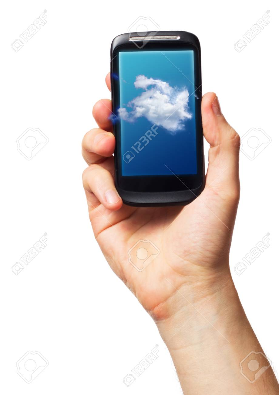 Cloud computing on mobile  smartphone with Cloud Concept on screen Stock Photo - 15821215