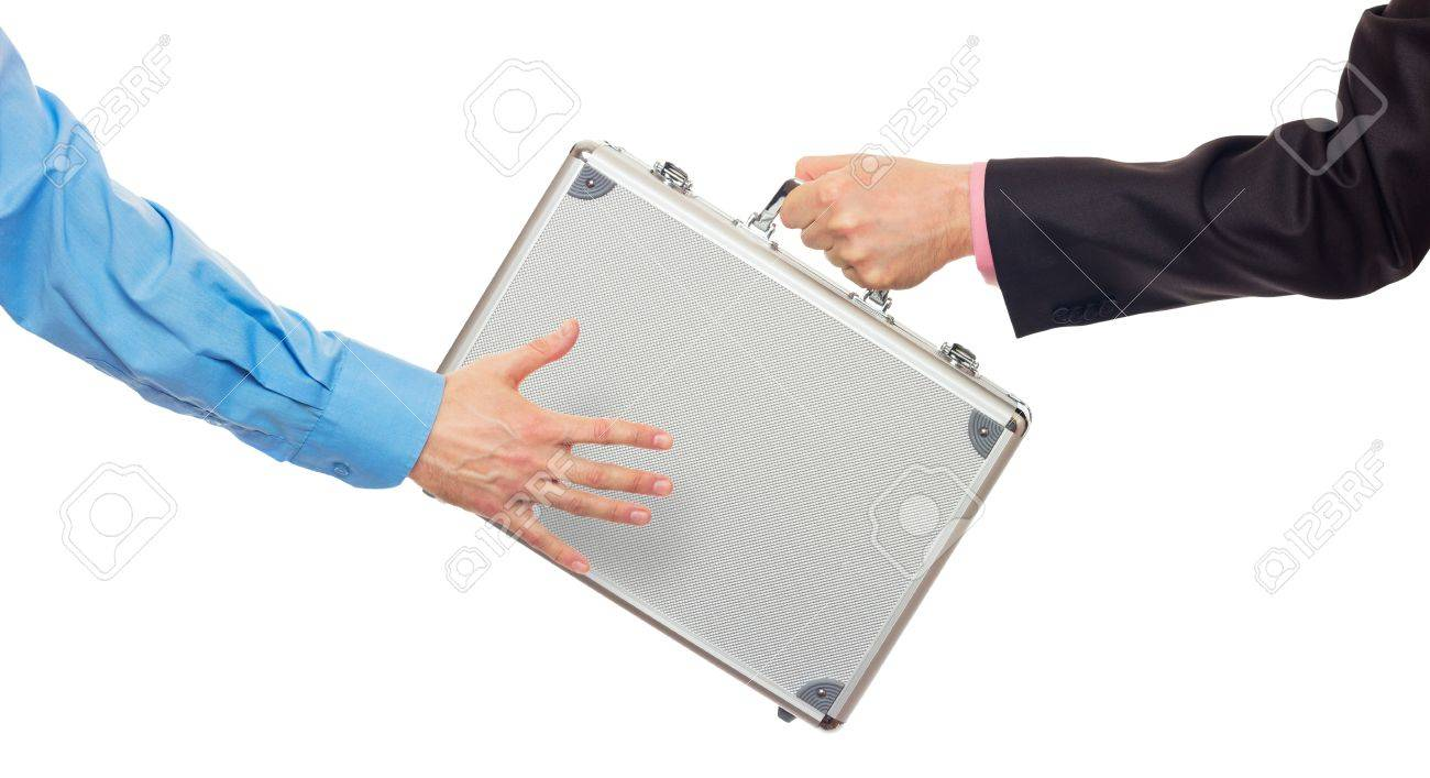 Transfer the silver metal case from hand to hand. Isolated on white Stock Photo - 17934841