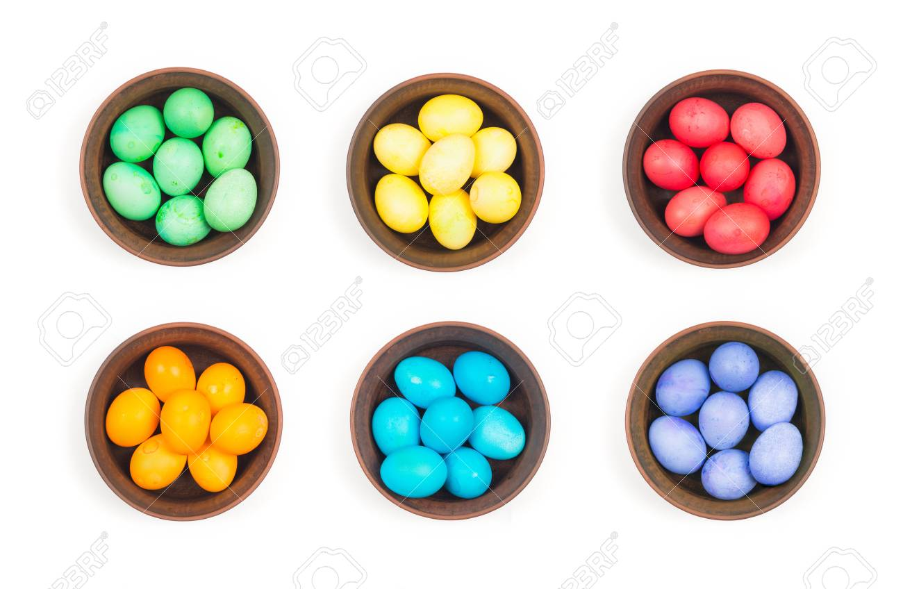 Easter eggs in a clay plate on a white background Stock Photo - 18753495