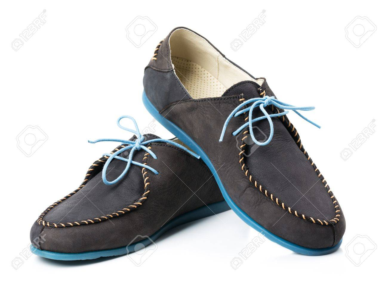 Leather Loafers With Blue Soles