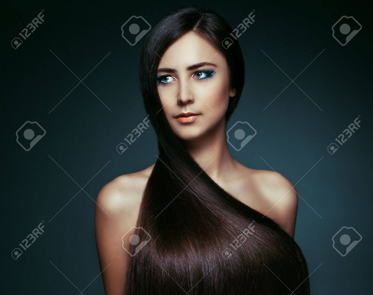 Beautiful Brunette Girl with Healthy Long Hair - 41055674