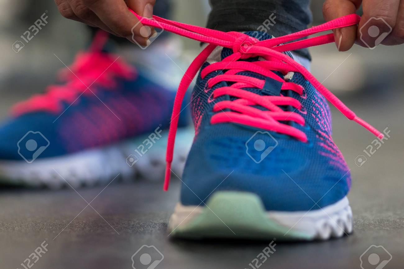 Tying LacesCloseup Of Shoes Fitness Shoe Woman Running XZlTwOkuPi