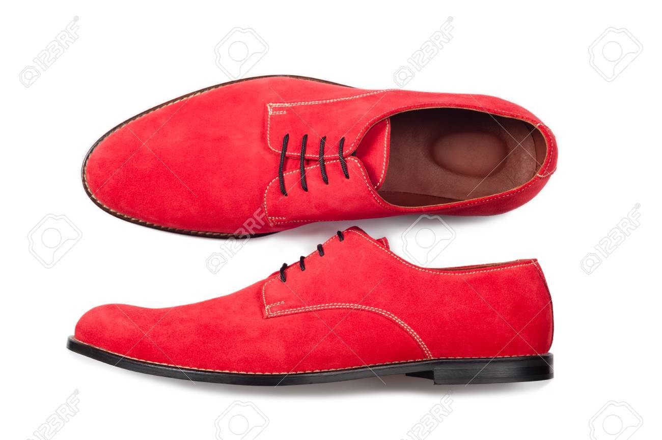 Red Men Suede Shoes Isolated On White