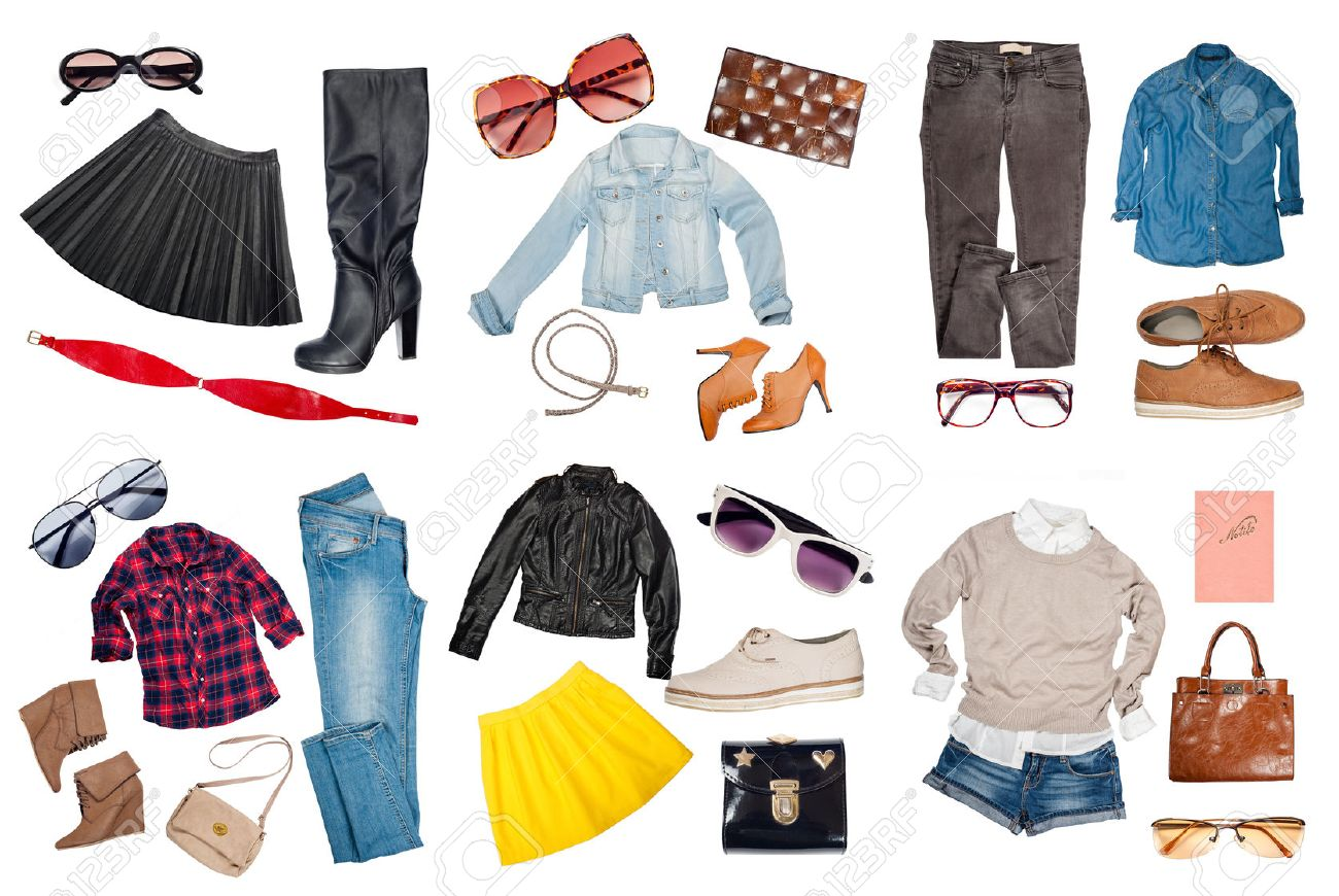 Outfits of clothes and woman accessories - 42354690