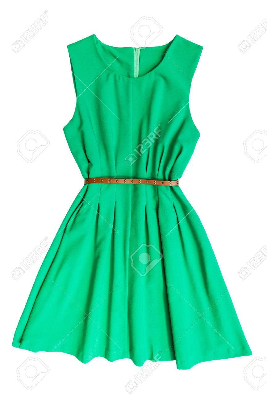 Grünes Kleid Mit Gürtel Auf Weißem Hintergrund Lizenzfreie Fotos ...