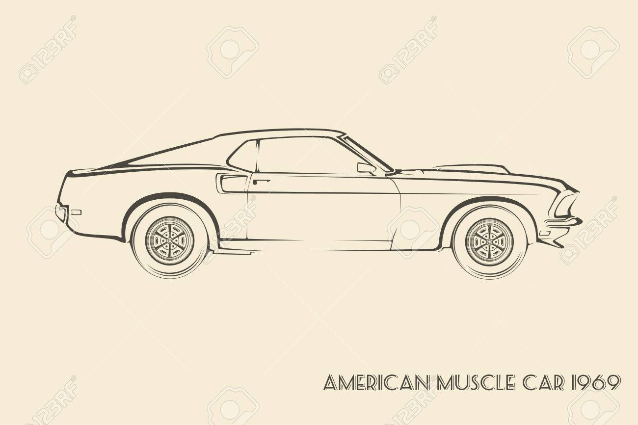 American Muscle Car Silhouette Vintage Vector Royalty Free