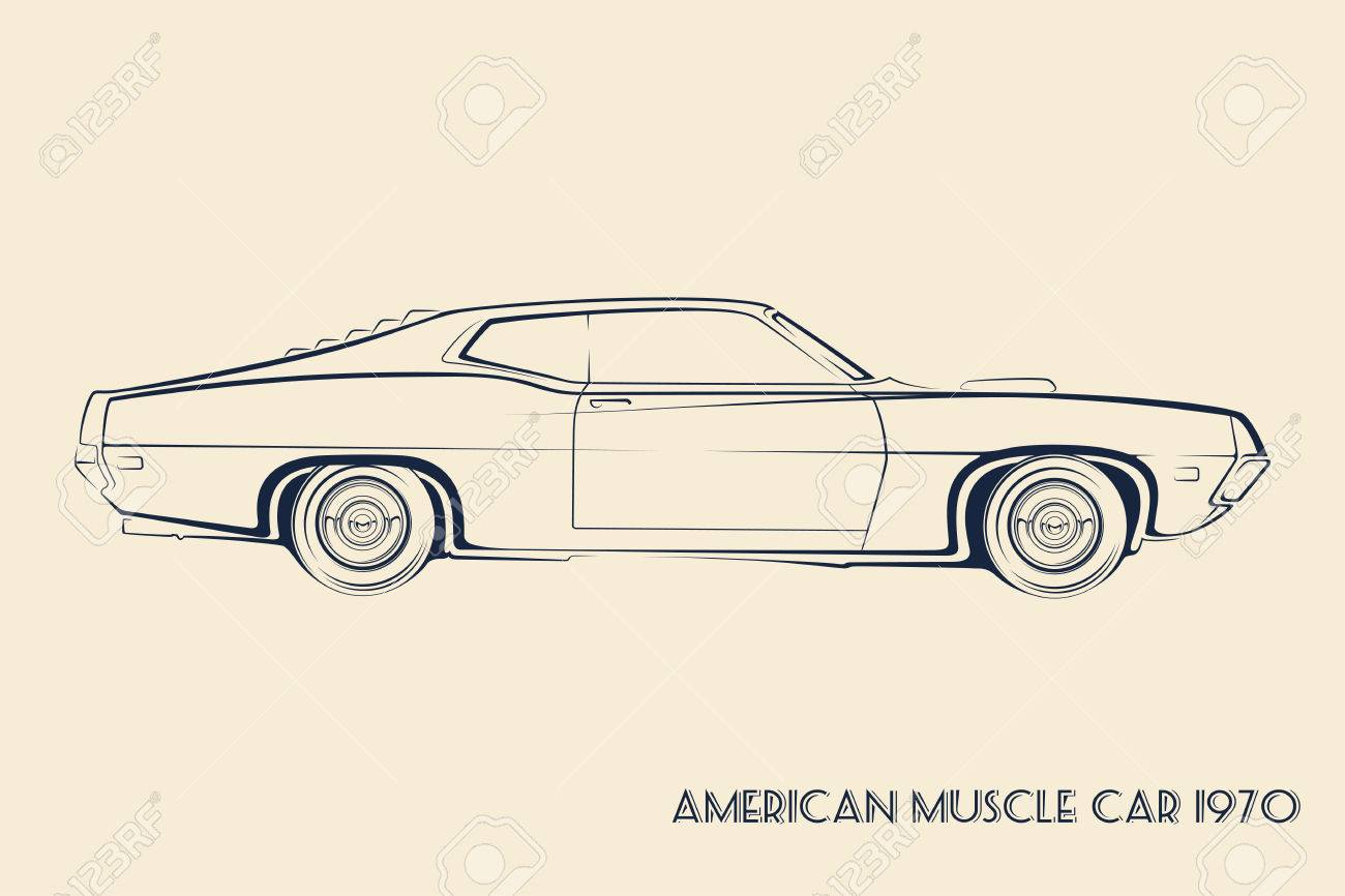 American Muscle Car Silhouette 70s Vintage Vector Royalty Free