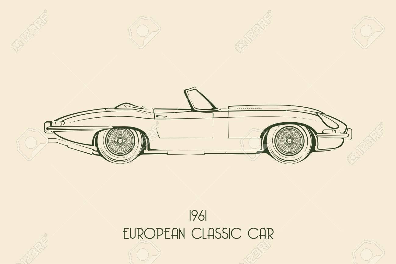 set of vintage classic sports car silhouettes outlines contours