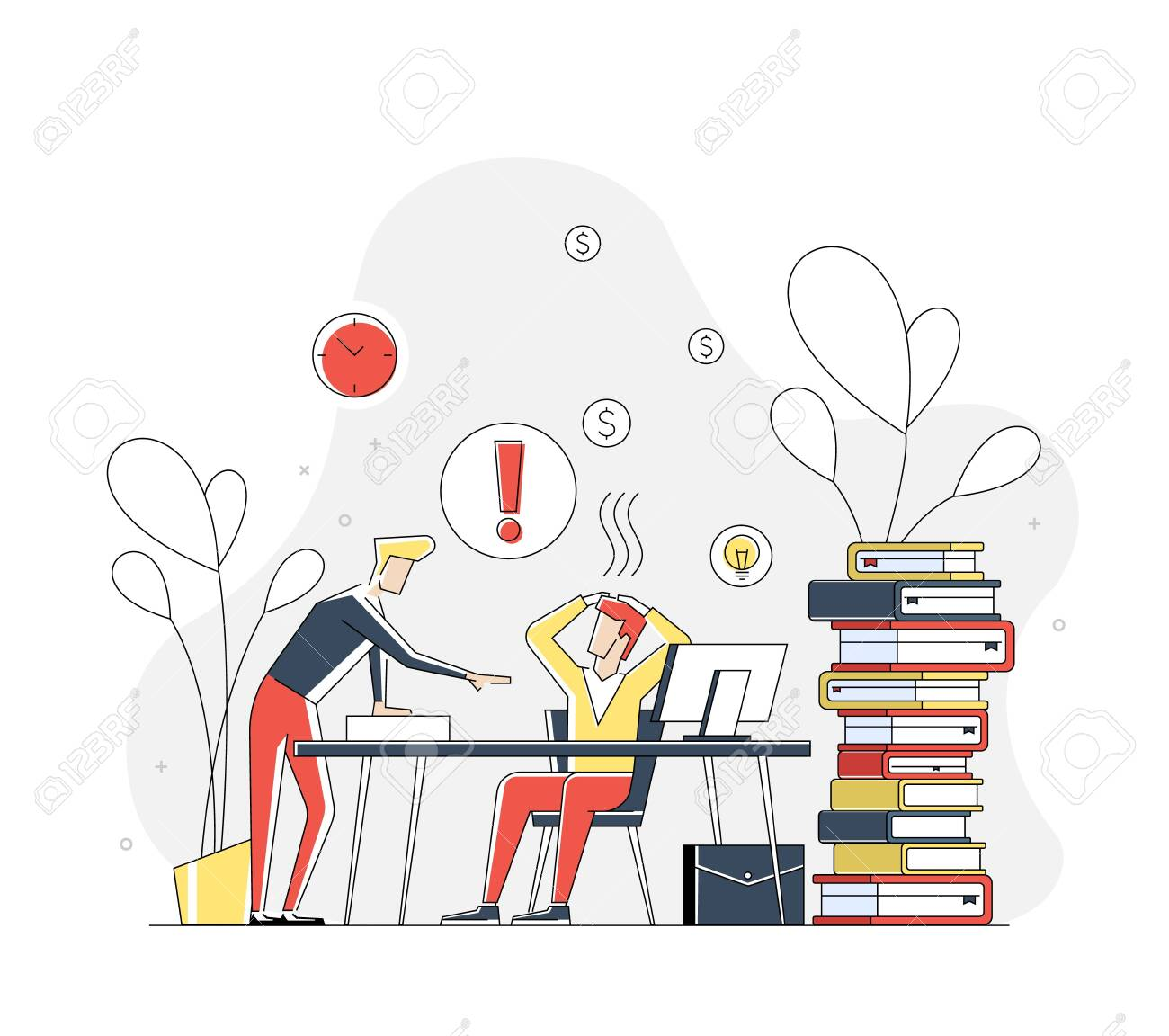 Illustration of flat linear geometric people in working stress concept. Interacting people.Illustration for landing page. - 146162963