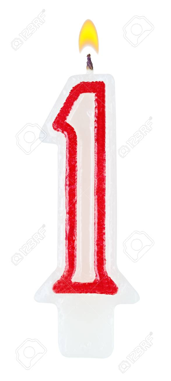 Birthday Candles Number One Isolated On White Background Stock Photo