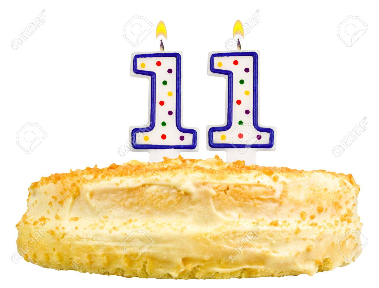 Birthday Cake Candles Number Eleven Isolated On White Background Stock Photo
