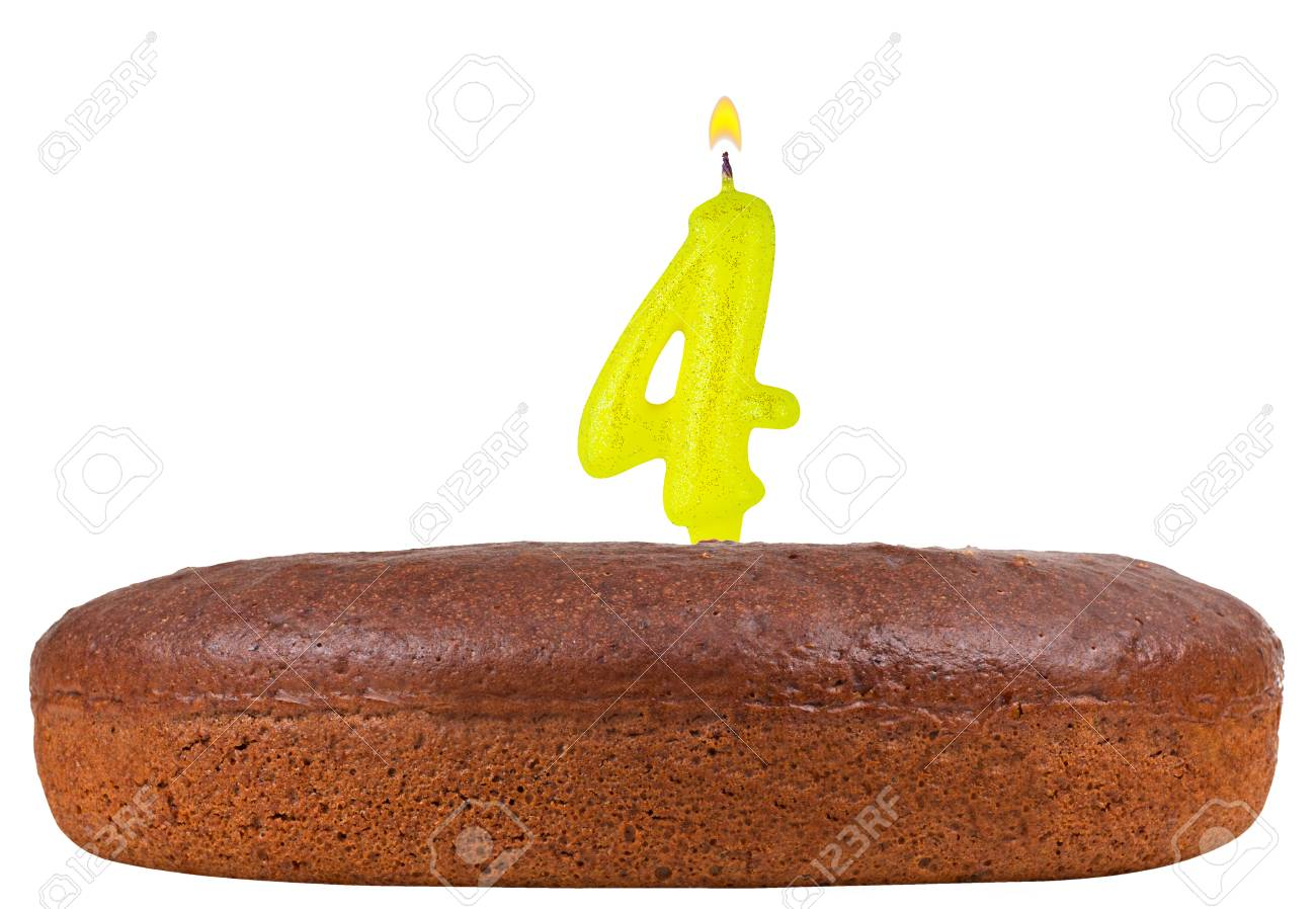 Birthday Cake With Candles Number 4 Isolated On White Background Stock Photo
