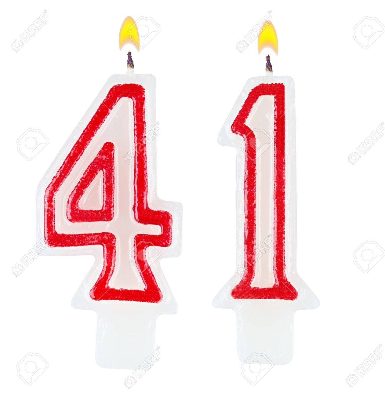 Birthday Candles Number Forty One Isolated On White Background Stock Photo