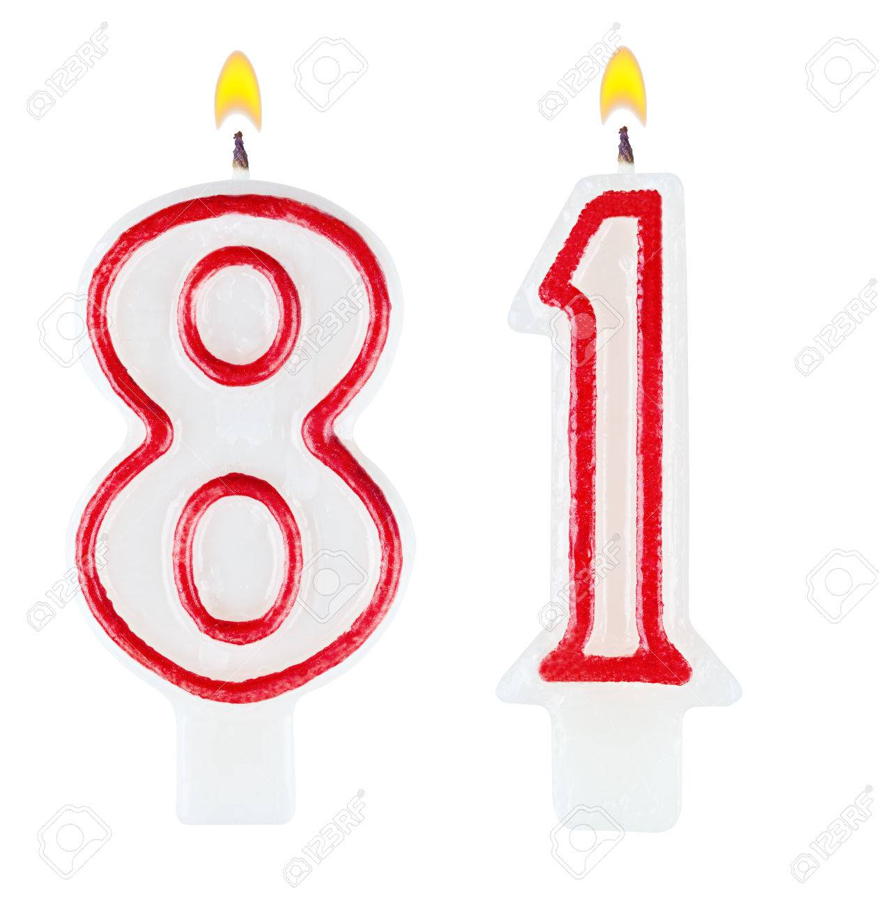 Birthday Candles Number Eighty One Isolated On White Background Stock Photo