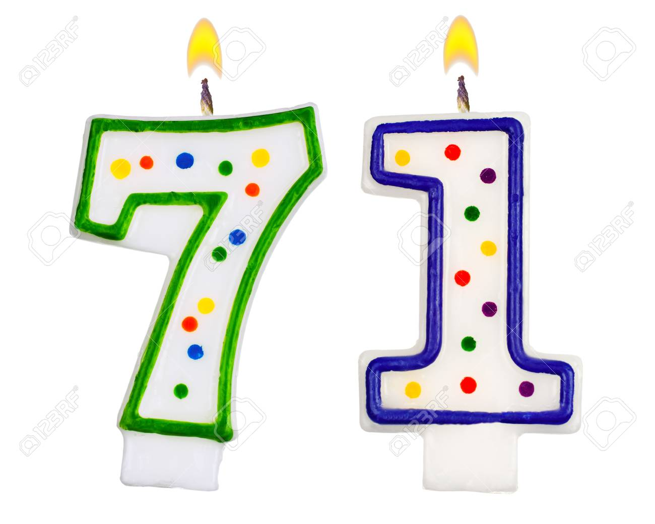 Birthday Candles Number Seventy One Isolated On White Background Stock Photo