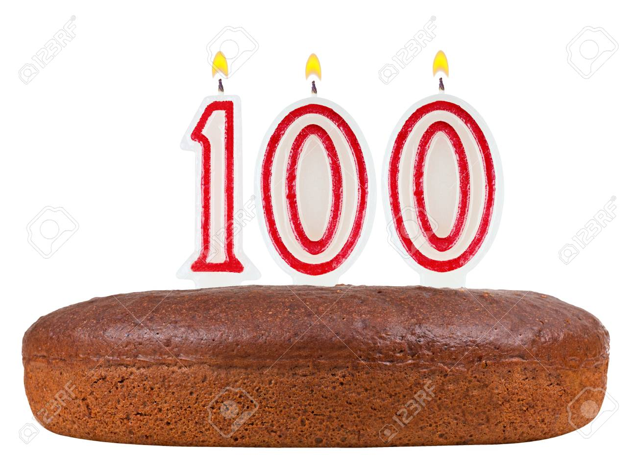 Birthday Cake With Candles Number 100 Isolated On White Background Stock Photo