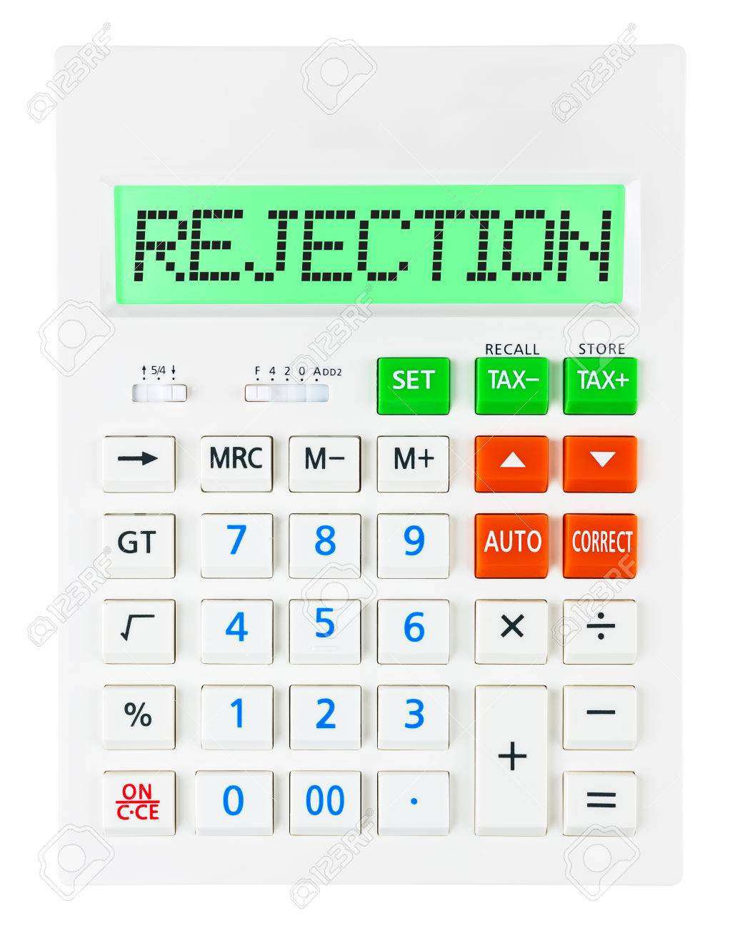 calculator rejection on display on white background stock calculator rejection on display on white background stock photo 37063364
