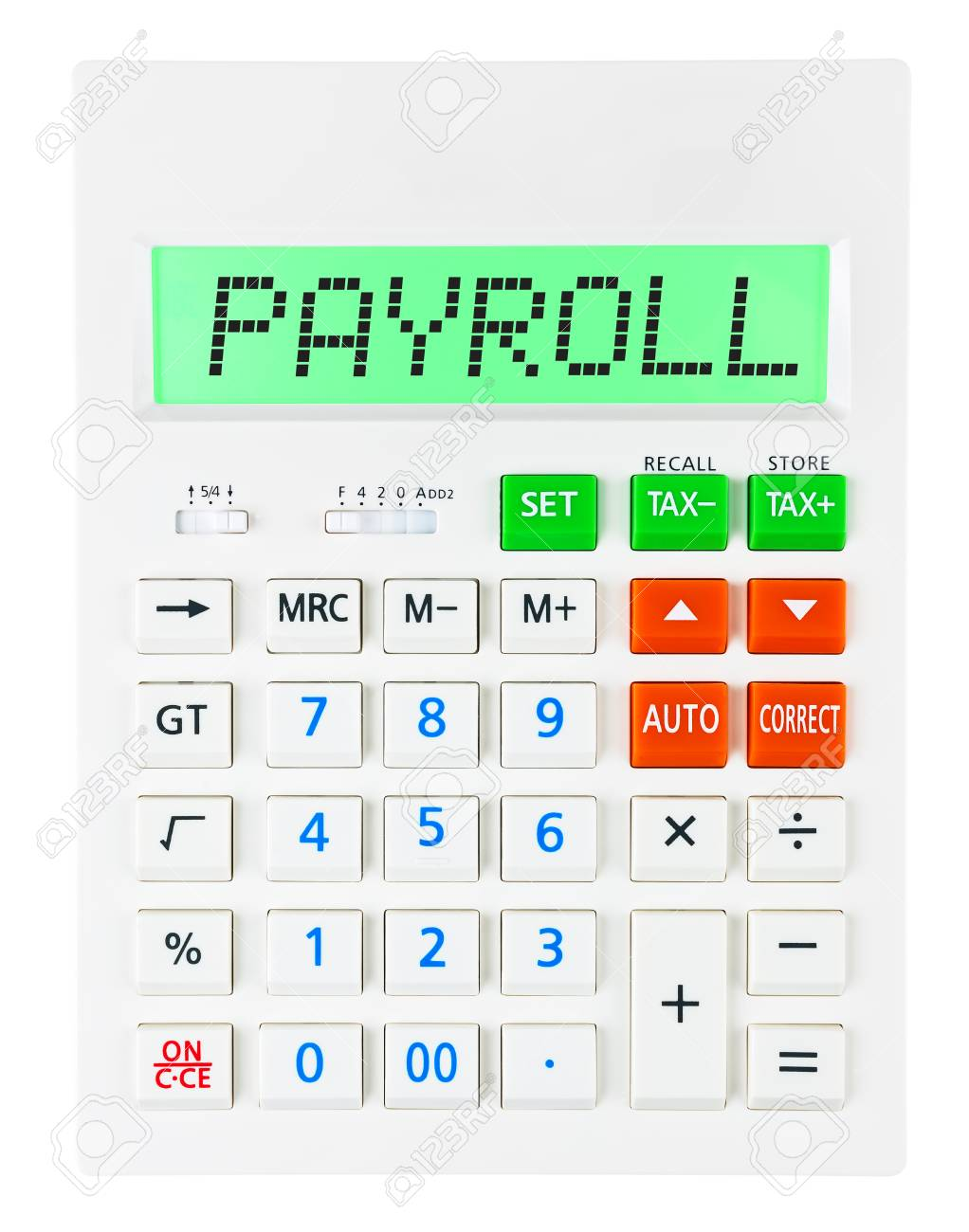 calculator with payroll on display on white background stock photo
