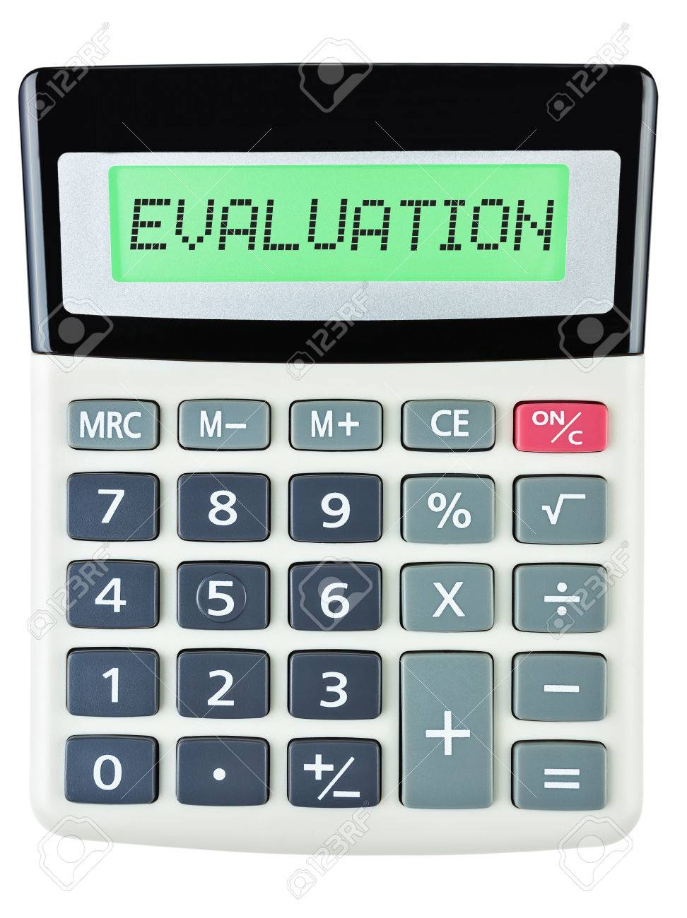 Calculator With Evaluation On Display Isolated On White Background