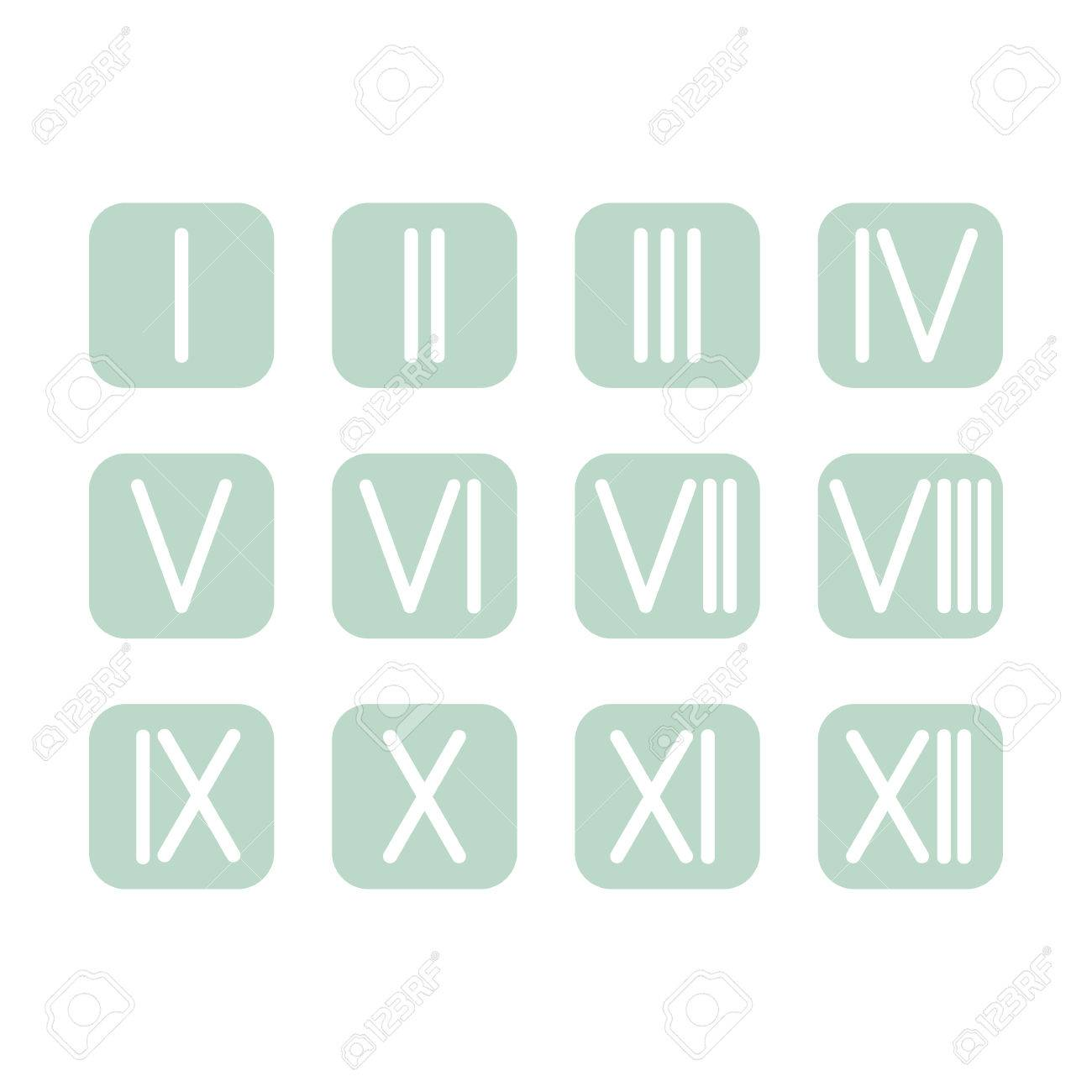 Set roman numerals 1 12 icon 12 square colored buttons vector set roman numerals 1 12 icon 12 square colored buttons vector stock vector thecheapjerseys Gallery