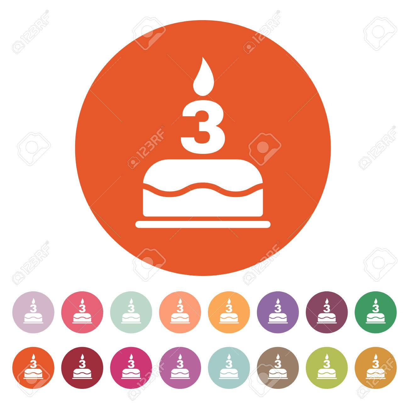 The Birthday Cake With Candles In The Form Of Number 3 Icon