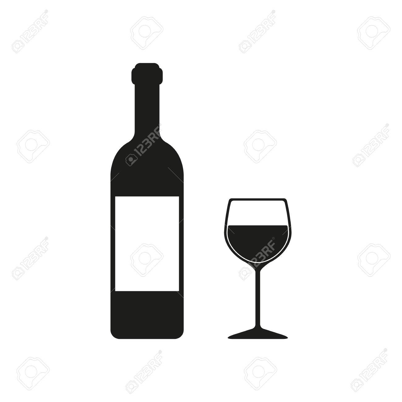 La bouteille de vin et un verre de boisson icône. symbole de vin. Flat Vector illustration