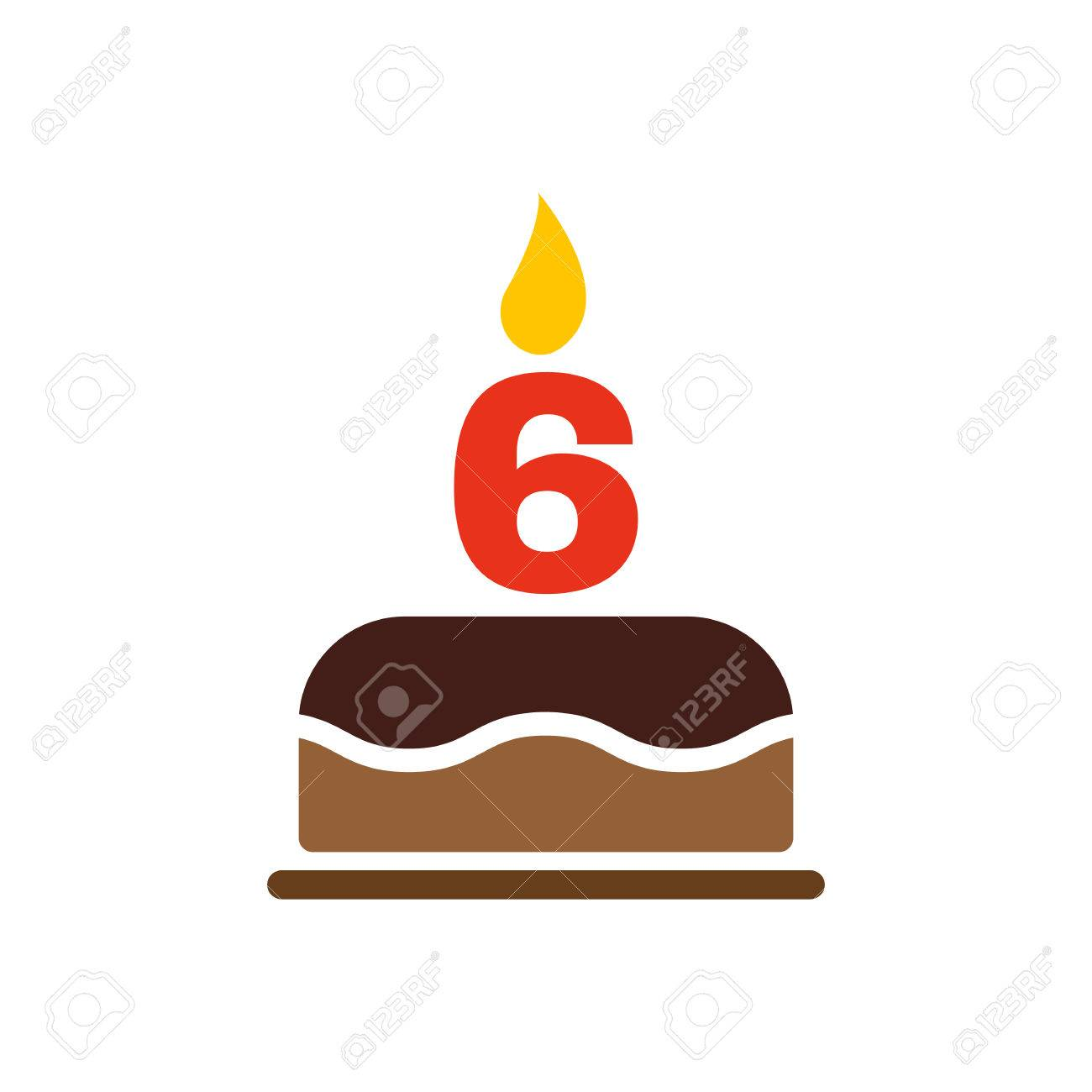 The Birthday Cake With Candles In The Form Of Number 6 Icon