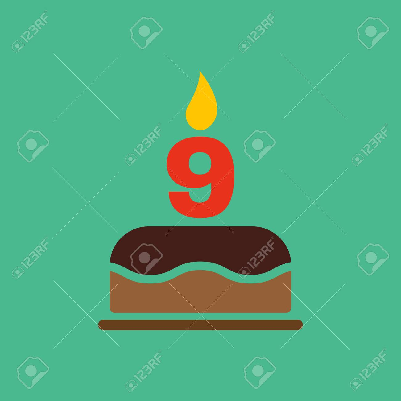 The Birthday Cake With Candles In Form Of Number 9 Icon Symbol