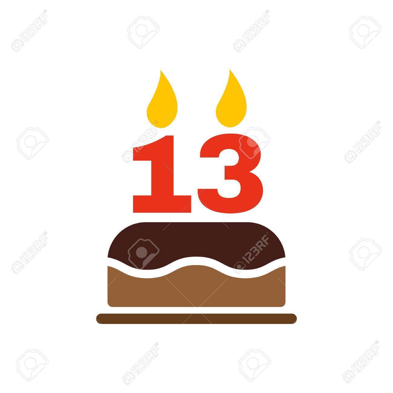 Sensational The Birthday Cake With Candles In The Form Of Number 13 Icon Personalised Birthday Cards Veneteletsinfo