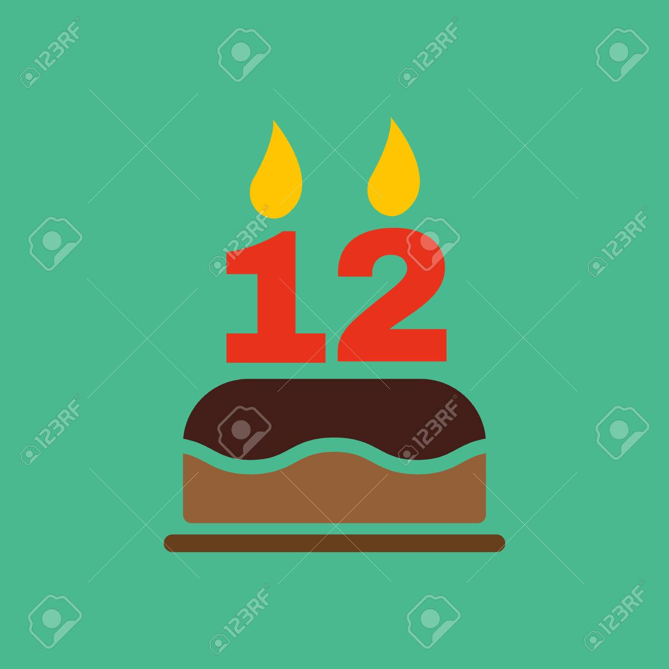 The Birthday Cake With Candles In The Form Of Number 12 Icon