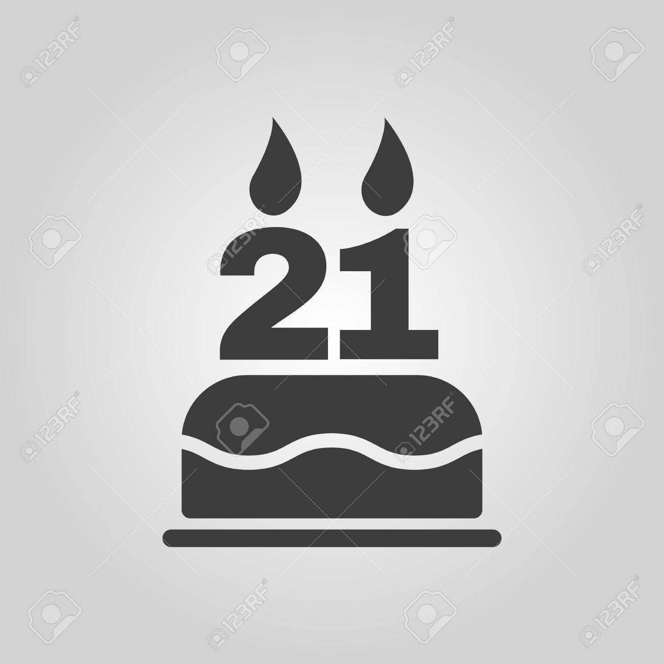 The birthday cake with candles in the form of number 21 icon the birthday cake with candles in the form of number 21 icon birthday symbol buycottarizona