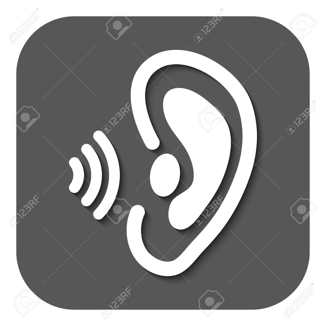 the ear icon sense organ and hear understand symbol flat vector