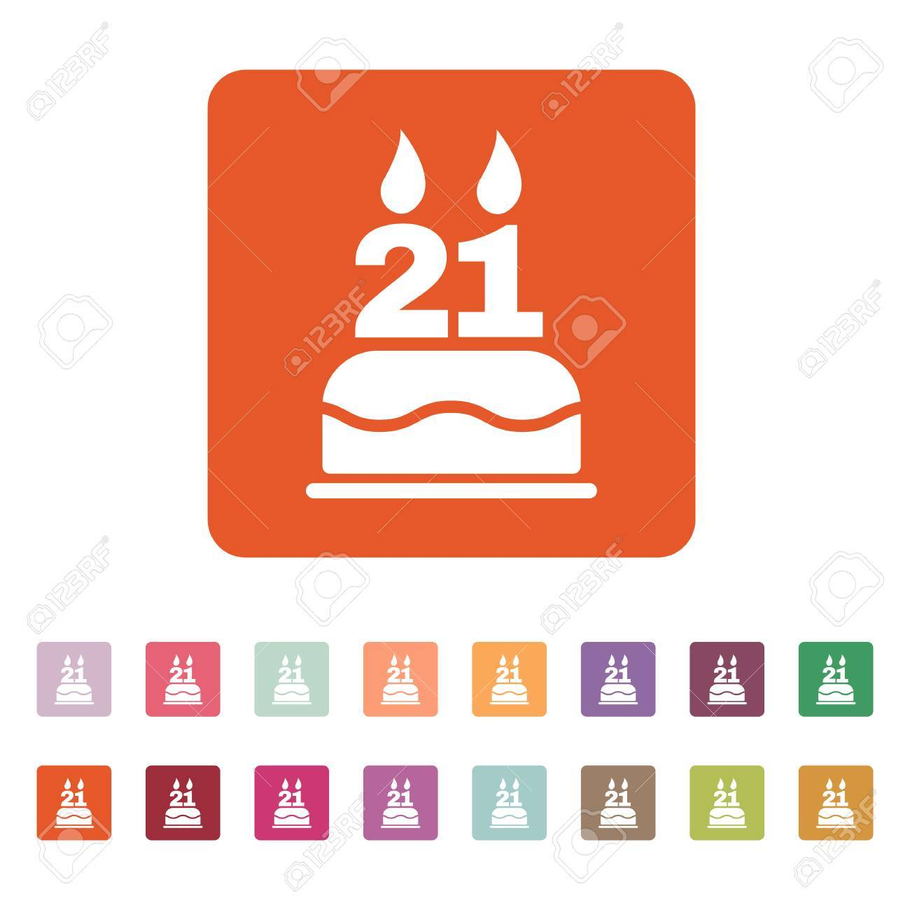 The Birthday Cake With Candles In Form Of Number 21 Icon Symbol