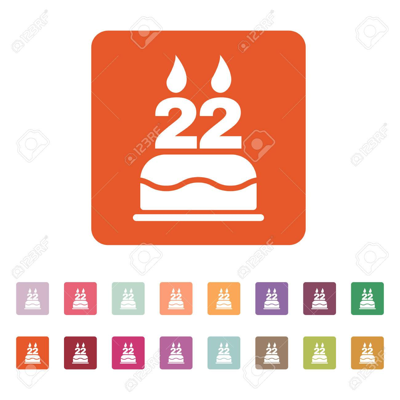 The Birthday Cake With Candles In The Form Of Number 22 Icon