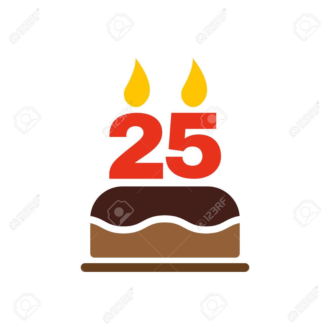 La Torta De Cumpleanos Con Velas En Forma De Numero 25 Icono