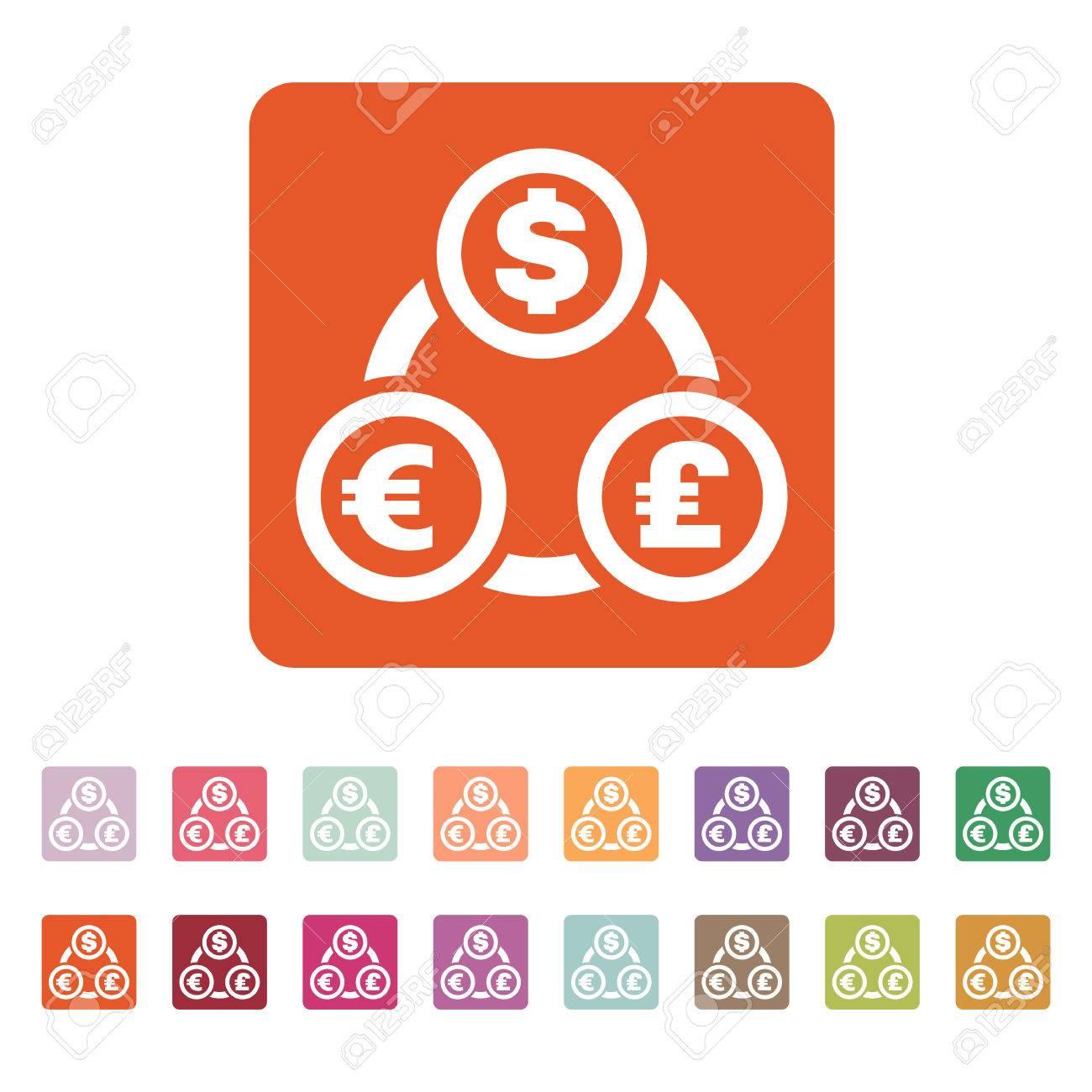 Le Dollar De Change De Devise Euro Icone De Livre Sterling Tresorerie Et Argent Richesse Symbole De Paiement Illustration Vectorielle Plane Jeu