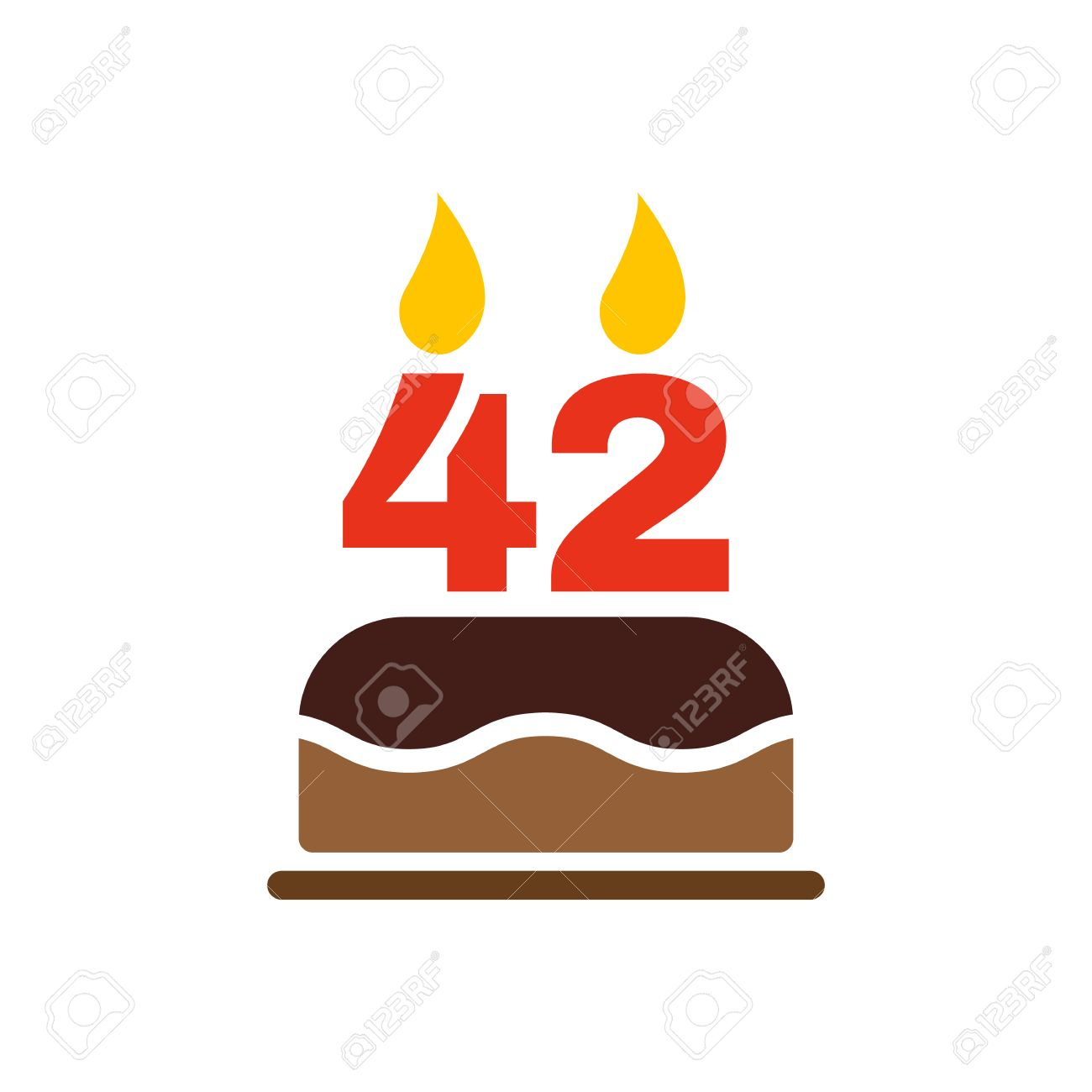 Tremendous The Birthday Cake With Candles In The Form Of Number 42 Icon Funny Birthday Cards Online Fluifree Goldxyz