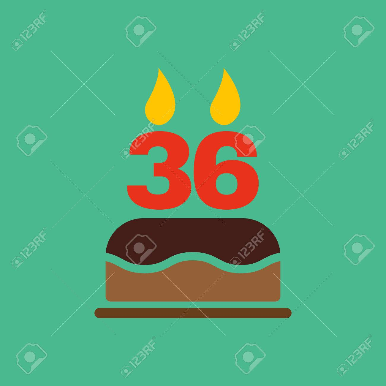 The Birthday Cake With Candles In The Form Of Number 36 Icon