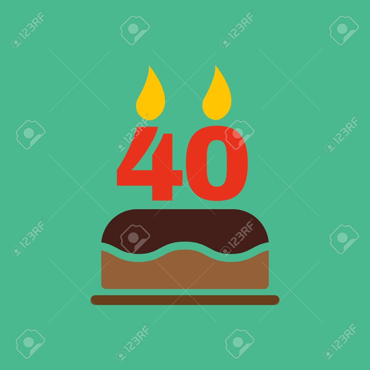 The Birthday Cake With Candles In The Form Of Number 40 Icon