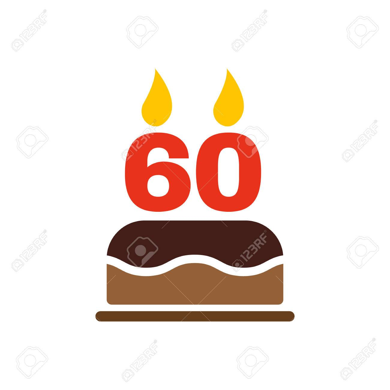 Astonishing The Birthday Cake With Candles In The Form Of Number 60 Icon Personalised Birthday Cards Sponlily Jamesorg