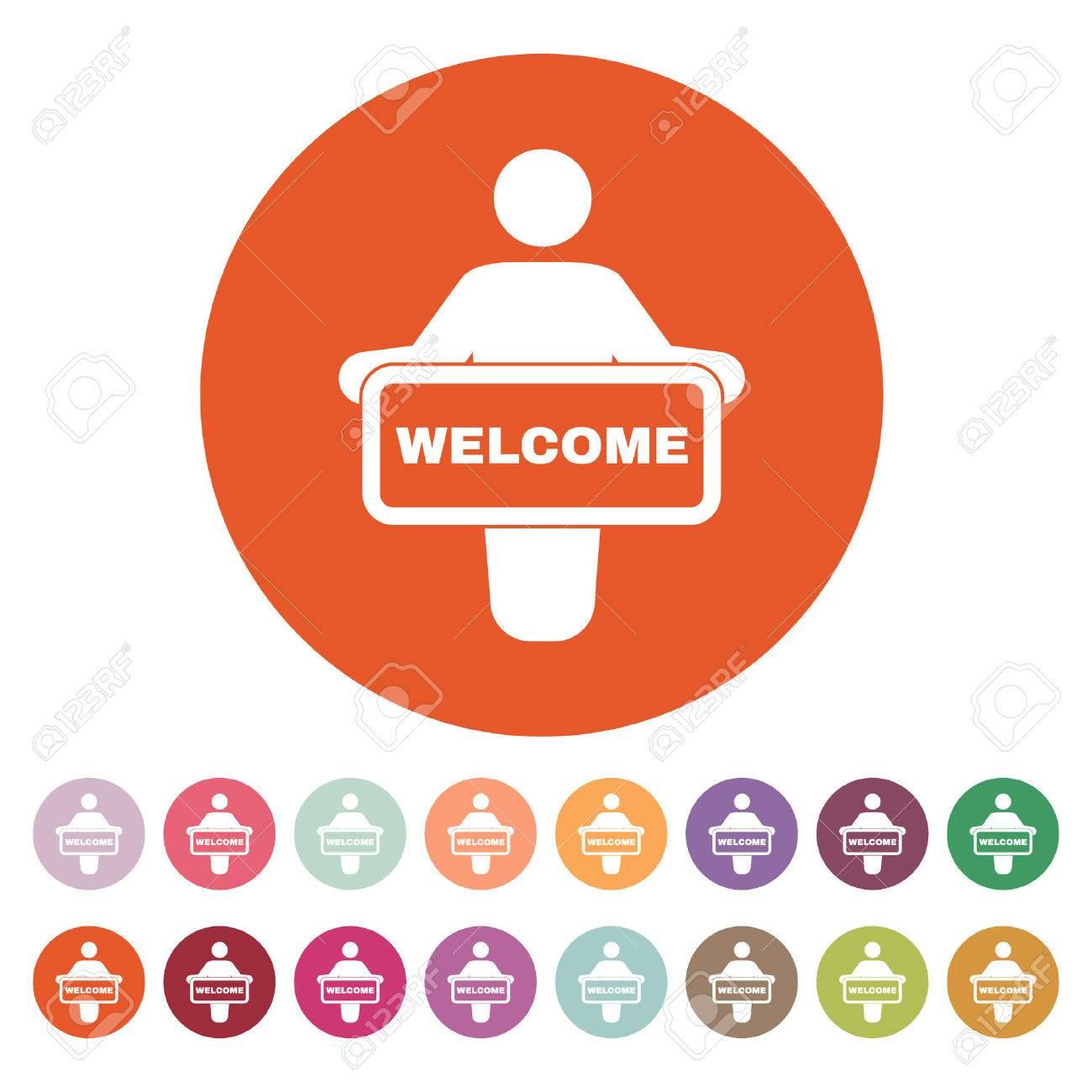 The Welcom Icon Invite Symbol Flat Vector Illustration Button