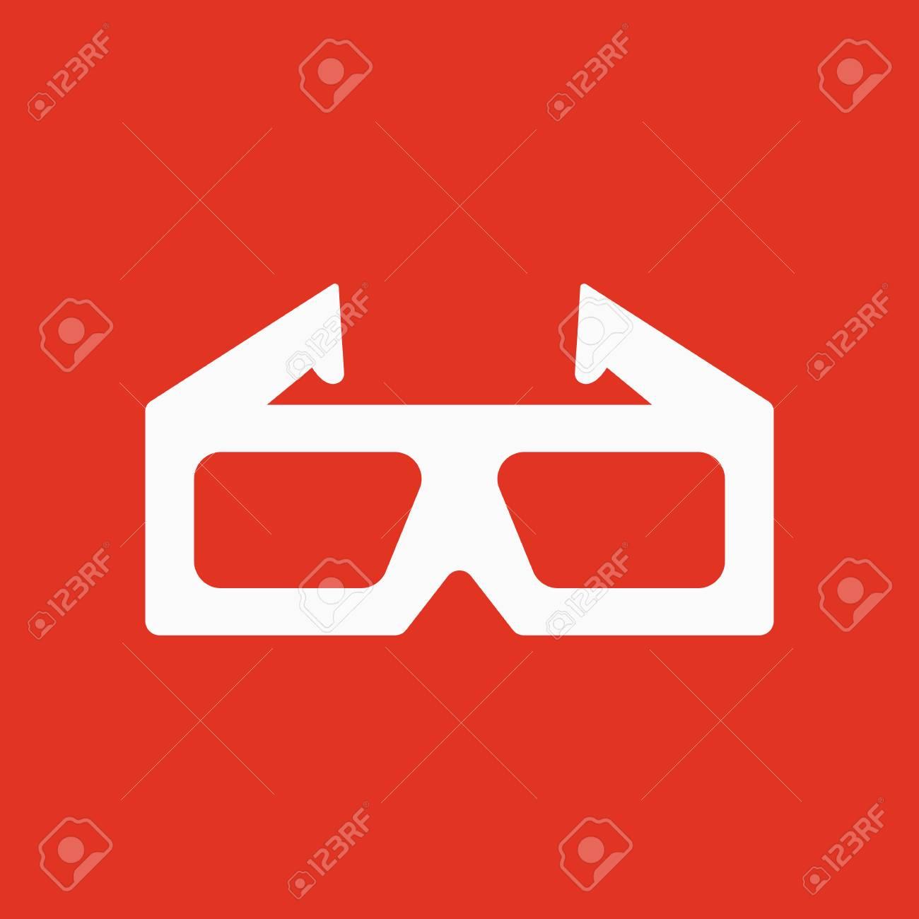 The 3d Movie Icon 3d Glasses Symbol Flat Vector Illustration