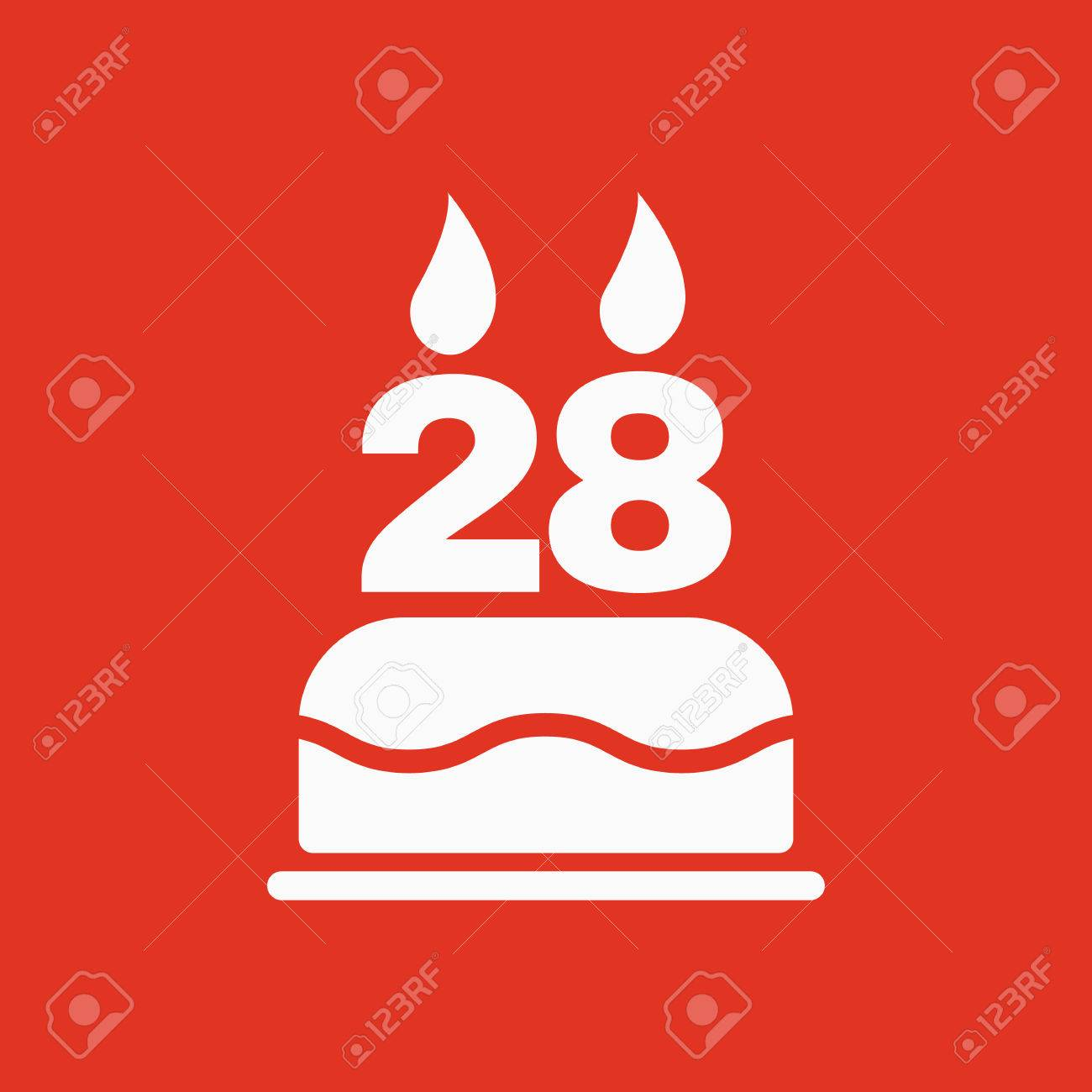 The Birthday Cake With Candles In The Form Of Number 28 Icon