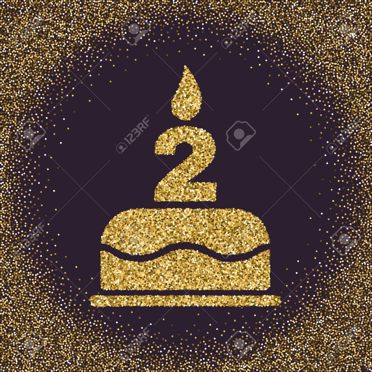 The Birthday Cake With Candles In Form Of Number 2 Symbol Gold
