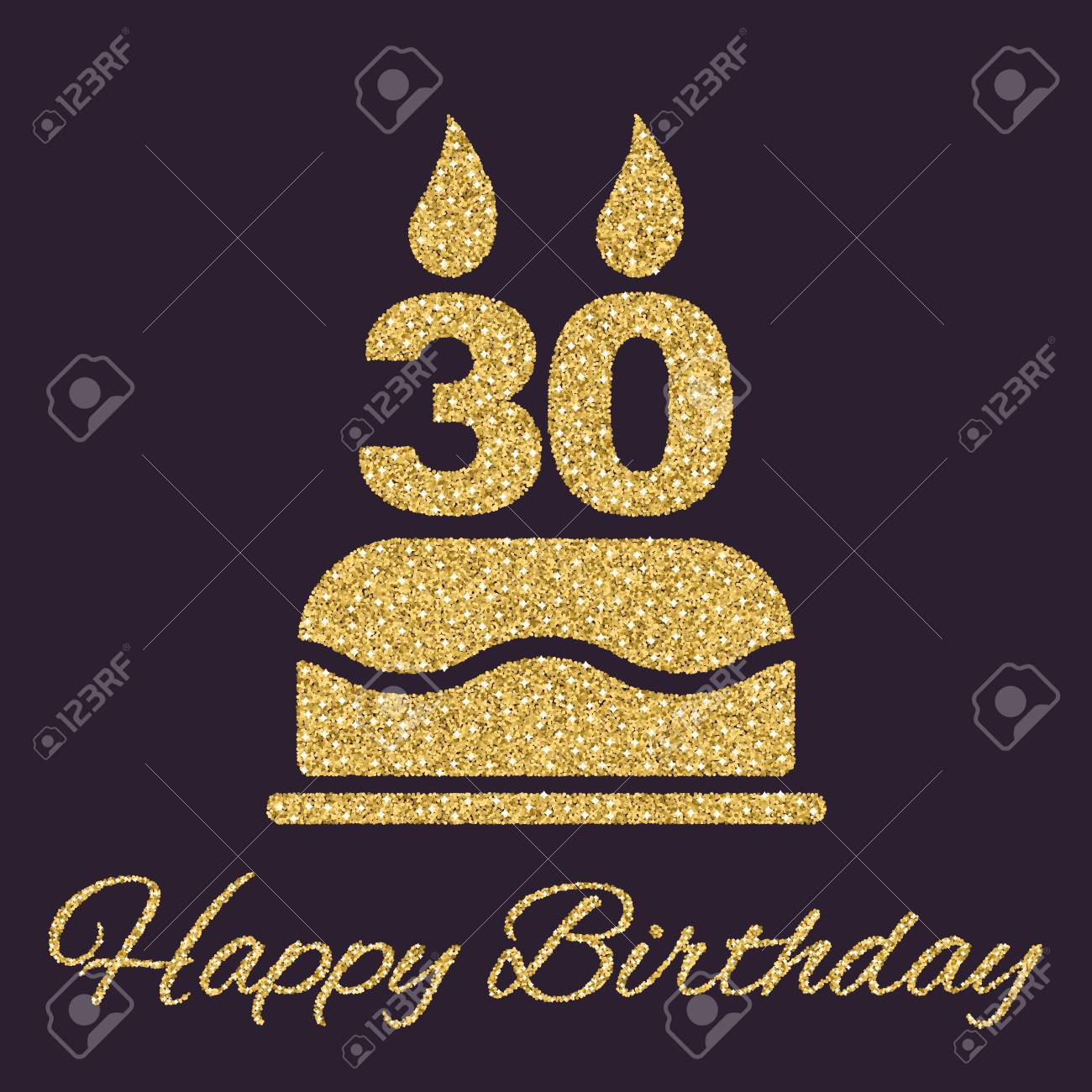 gold number 30 birthday candle