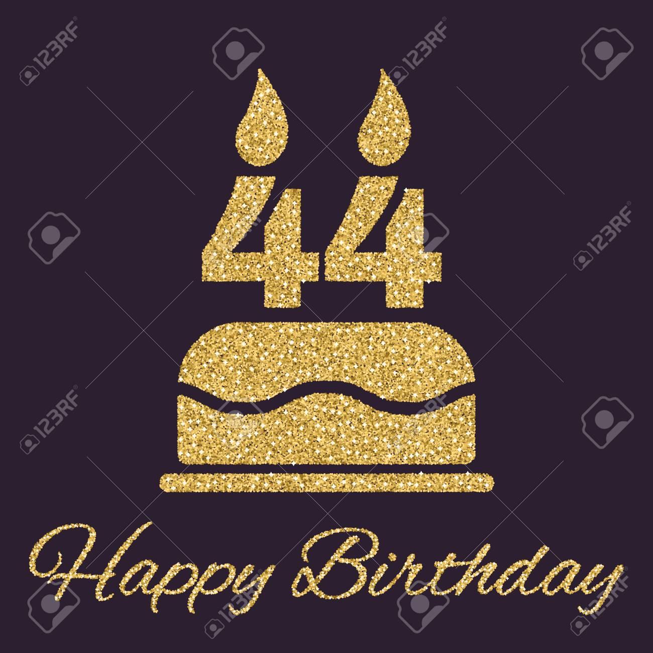 QATARம் கண்ட ராஜா-பிறந்த நாளில் வாழ்த்துவோம், வாருங்கள் . 64363988-the-birthday-cake-with-candles-in-the-form-of-number-44-icon-birthday-symbol-gold-sparkles-and-glitt