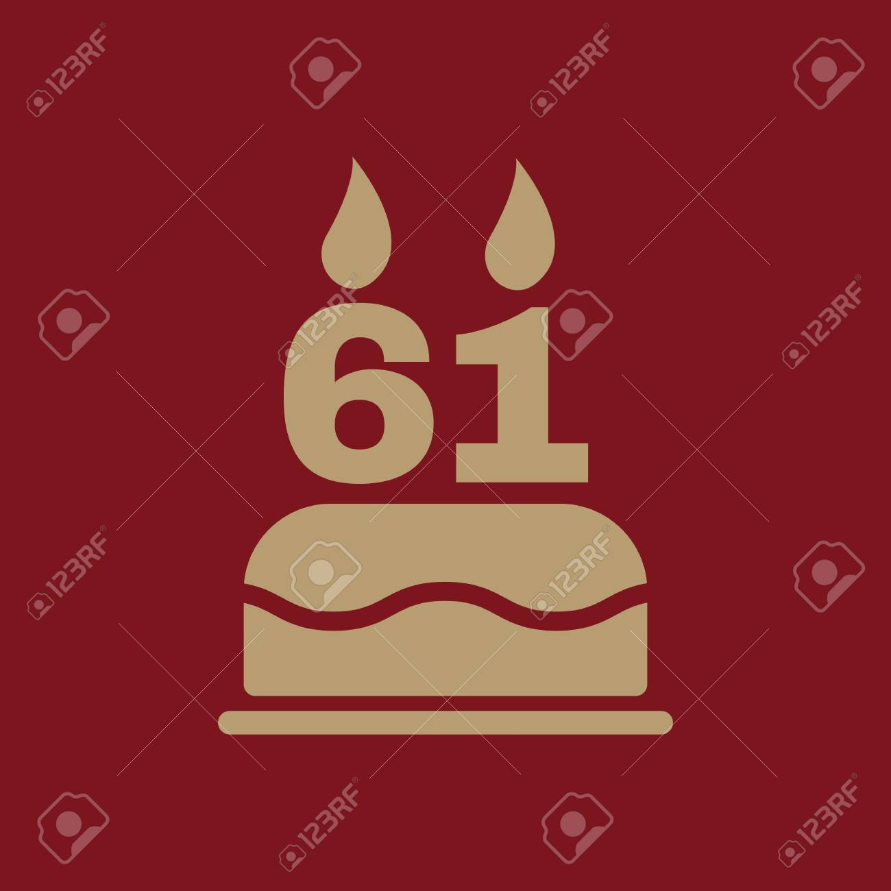 The Birthday Cake With Candles In The Form Of Number 61 Icon
