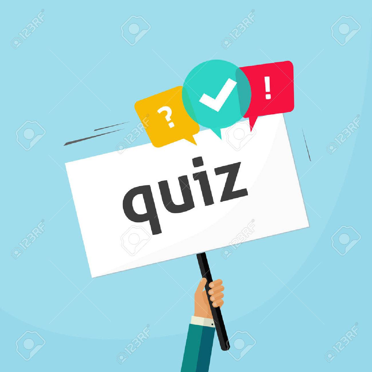 Hand holding placard with quiz text and speech bubble symbols, concept of questionnaire show sing, question competition banner, exam, interview design vector illustration isolated on blue background - 55786055